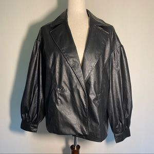 What Not To Wear Jet Black Faux Leather Jacket